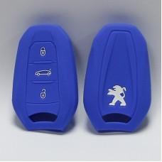 Чехол силиконовый для ключа Peugeot 3008, 508 (3 кнопки,Синий)