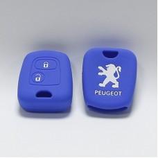 Чехол силиконовый для ключа Peugeot 206,207,307 (2 кнопки,Синий)