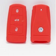 Чехол силиконовый для ключа Volkswagen CC (3 кнопки,Красный)