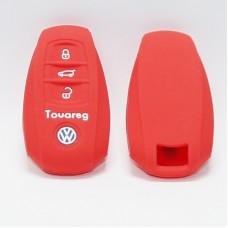 Чехол силиконовый для ключа Volkswagen Touareg (3 кнопки,Красный)