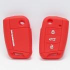 Чехол силиконовый для ключа Volkswagen 7Golf7 2015 (3 кнопки,Выкидной,Красный)