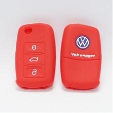 Чехол силиконовый для ключа Volkswagen Polo (3 кнопки,Красный)
