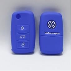 Чехол силиконовый для ключа Volkswagen Polo (3 кнопки,Синий)