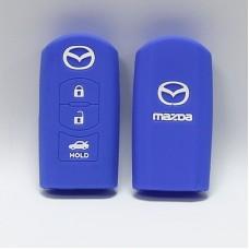 Чехол силиконовый для ключа Mazda 2.0L,CX-5,CX-7 (3 кнопки,Синий)