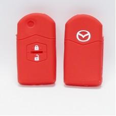 Чехол силиконовый для ключа Mazda 3,6 (2 кнопки,Красный)