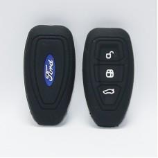 Чехол силиконовый для ключа Ford (3 кнопки,Черный)