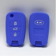 Чехол силиконовый для ключа KIA KY-zd-1 (3 кнопки,Синий)
