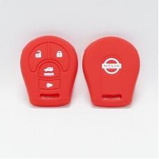 Чехол силиконовый для ключа Nisan (4 кнопки,Красный)