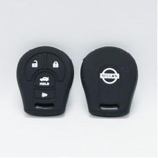 Чехол силиконовый для ключа Nisan (4 кнопки,Черный)