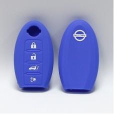 Чехол силиконовый для ключа Nisan Rc-zn4 (4 кнопки,Синий)