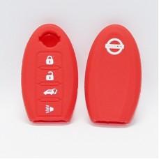 Чехол силиконовый для ключа Nisan Rc-zn4-1 (4 кнопки,Красный)