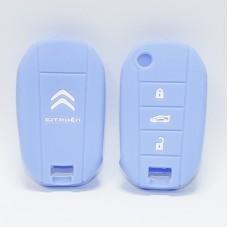 Чехол силиконовый для ключа Citroen 2014  (3 кнопки,Голубой)