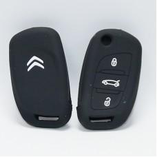 Чехол силиконовый для ключа Citroen C5 C4L  (3 кнопки,Черный)