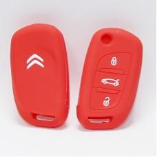 Чехол силиконовый для ключа Citroen C5 C4L  (3 кнопки,Красный)